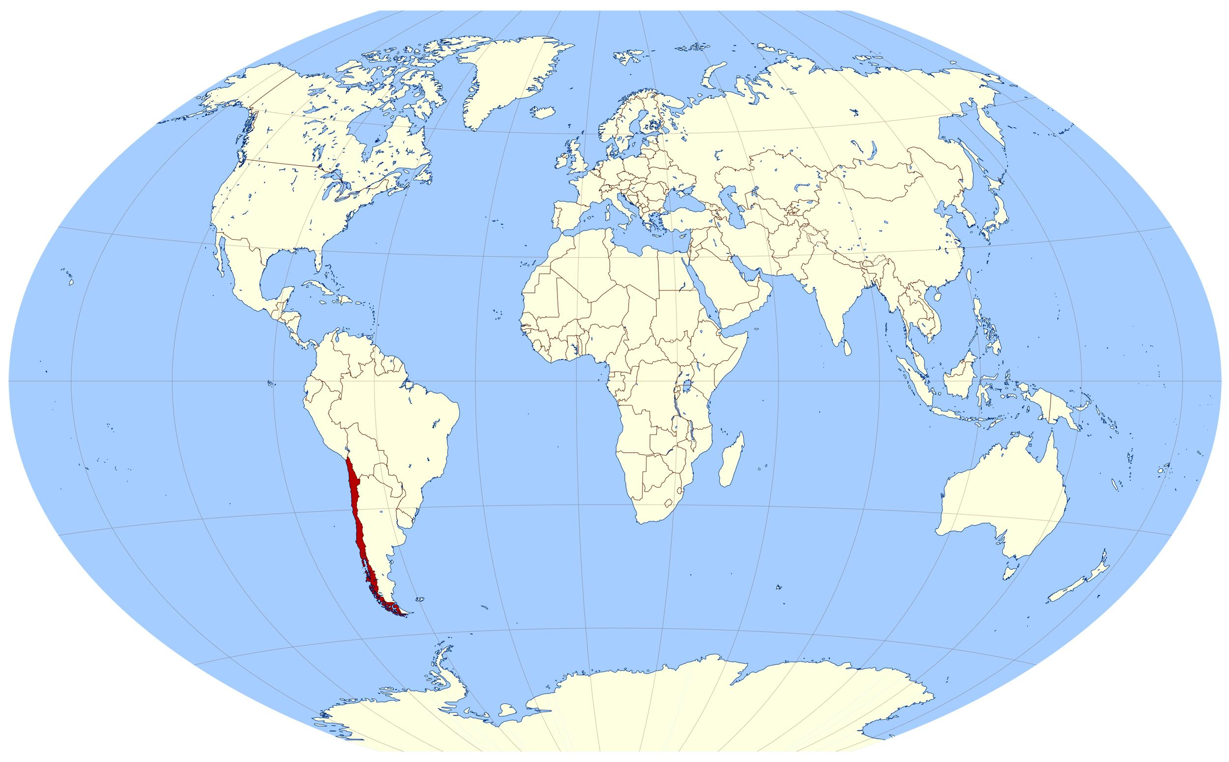 Chile on world map - World map showing Chile (South America - Americas)