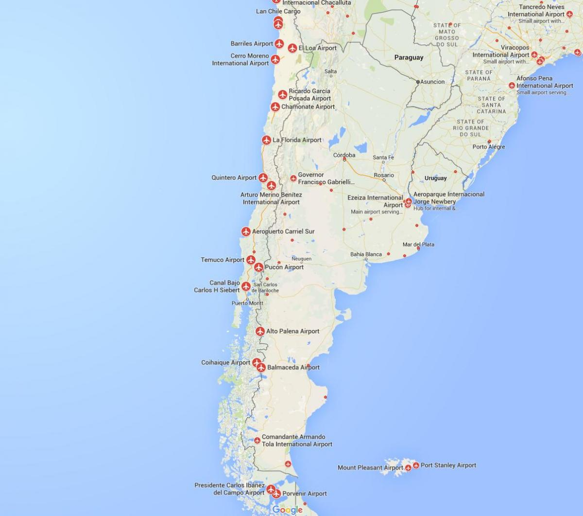 map of airports in Chile