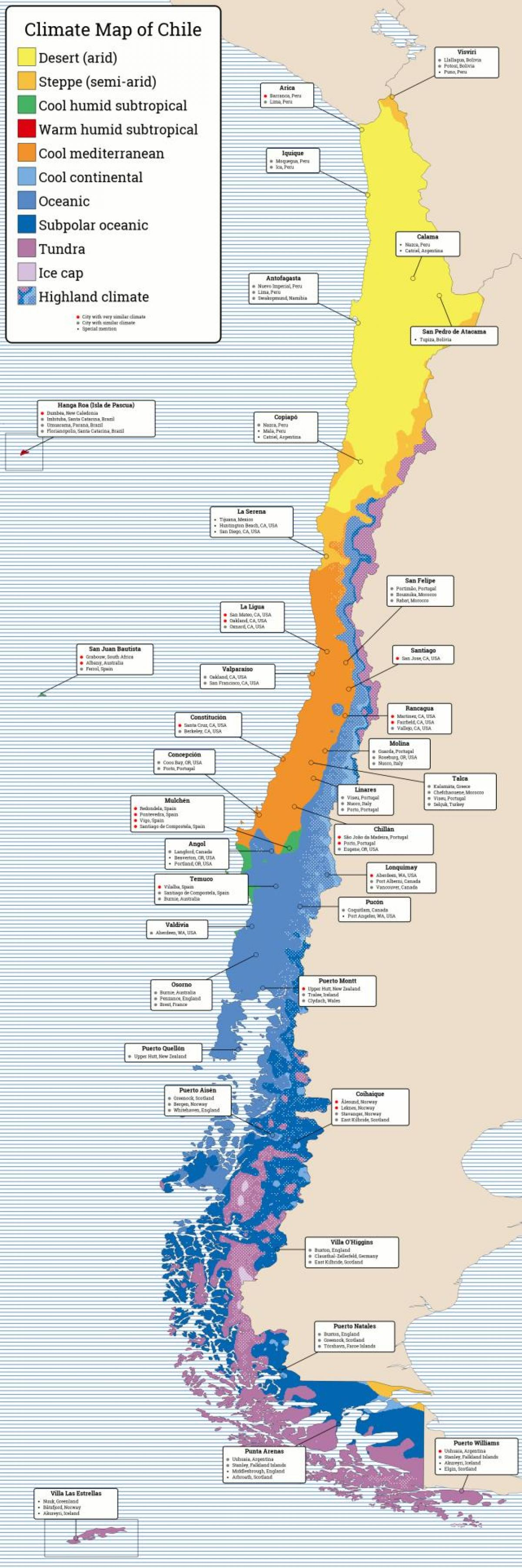 Map of Chile climate